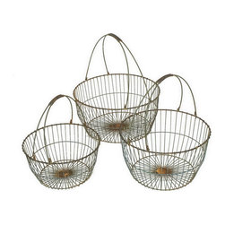Heather Fields Home & Garden - Set of 3 Decorative Metal Apple Baskets - Set of 3 Vintage-Inspired Metal Apple Baskets. Rustic finish of blue/grey & rust. Comes with Large: 16x16x8.5H with handles down, Medium: 14x14x7H with handles down, Small: 12x12x6.5H with handles down.