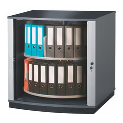 Empire Office Solutions - Moll Lockfile Carousel Cabinet - Two Tier in Graphite Wood with Laminate - Lockable quiet-action tambour doors retract within the cabinet walls to save floor space. Inside, circular shelf tiers rotate independently around a sturdy steel base and provide all-around access to binders, files, books, media and more. Compared to traditional locking cabinets, lock file carousel cabinets secure the same amount of materials in a fraction of the space.