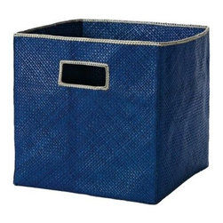 Serena & Lily - Pandan Bin  Indigo - Tailored storage with a tropical twist, these textural bins are made of sturdy, handwoven palm fronds with a stitched Natural trim.