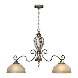Uttermost - Uttermost 21248 Malawi 2 Light Cheetah Ceramic Kitchen Island Light - Finish: Heavily Antiqued Silver w/ Lightly Burnished Cheetah Print over Ceramic