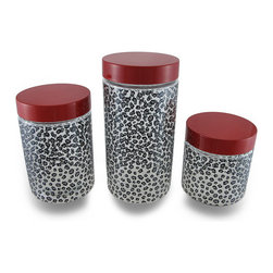 Zeckos - Set of 3 Black and Gray Cheetah Print Clear Glass Storage Jars with Red Lids - This set of 3 cheetah print glass storage jars will add a decorative touch while providing extra storage space whether they are filled with candies, spare change or cotton balls Each jar is topped with a contrasting red metal lid, adding fun to the wild print The largest jar holds 50.5 ounces, and measures 8.75 inches tall and 4.25 inches diameter (42 x 11 cm), the 44 ounce medium jar stands 6.75 inches tall and 4.25 inches diameter (17 x 11 cm), and the smallest 27 ounce jar is 4.75 inches tall and 4.25 inches diameter (12 x 11 cm). This set of 3 storage jars would make a wonderful housewarming or wedding gift sure to be enjoyed.