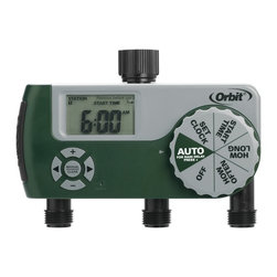 Orbit - Orbit 3 Outlet (1 Manual/2 Digital) Watering Timer Kit - 56233D - The Orbit 58062 digital water timer has 3 separate watering ports, 1 manual port and 2 ports that can be programmed. It features an easy-to-read digital display and an easy-to-use dial, this hose timer's programming is simple and you can easily control the water flow to your garden or lawn. It also has a rain delay setting, which makes it easy to conserve water after it rains. Perfect for watering the garden or as a lawn sprinkler system.Features and Benefits