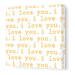"""Avalisa - Imagination - 'I Love You' Stretched Wall Art, Orange, 18"""" x 18"""" - Avalisa Children's Art creates canvas wall art that is modern in style and simple in design."""