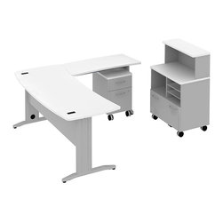 "Bush - Bush Sector 72"" L-Shape Curved Desk with Storage in White - Bush - office Sets - SEC008WH - Bring everyone together in open work environments. Bush SECTOR Series Suite 8AC in White with 72""W x 72""D Curved L Desk with filing drawer 72""W Curved Work Surface and 42""W x 20""D Curved Return Work Surface let you spread out in style. Affordable workstation L-desks and returns are easily reconfigurable. Metal-to-metal connections allow repeated attaching and detaching without joint fatigue. Includes two covered ports for cord and cable management. Four-gang USB hub allows quick connections for recharging phones or connecting peripherals. Straight-leg kit has raceway under desk front and back grommets and removable side leg panel to allow hiding of unsightly cords and cables. Bush Mobile Pedestal (B/F) fits any open collaborative space. One box drawer for supplies and one full extension file drawer hold letter- legal-and A4-size files. Sized to nest conveniently under desk surfaces. Contemporary Mobile Piler/Filer combines a cubby a flat shelf/inbox and a file drawer for extra versatility. Locking file drawer adds security. Adaptable versatile 30""W Vertical Storage Shelf adds space and works with Bush 30""W Mobile Piler/Filer. Rugged Diamond Coat top surface blends with other Sector pieces, resists marking, staining and abrasions. Includes Bush 10-year warranty."