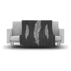 "Kess InHouse - Jaidyn Erickson ""Feathers Black"" Fleece Blanket (60"" x 50"") - Now you can be warm AND cool, which isn't possible with a snuggie. This completely custom and one-of-a-kind Kess InHouse Fleece Throw Blanket is the perfect accent to your couch! This fleece will add so much flare draped on your sofa or draped on you. Also this fleece actually loves being washed, as it's machine washable with no image fading."
