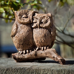 Campania International - Campania International Honeymoon Owls Cast Stone Garden Statue - A-433-AL - Shop for Statues and Sculptures from Hayneedle.com! About Campania InternationalEstablished in 1984 Campania International's reputation has been built on quality original products and service. Originally selling terra cotta planters Campania soon began to research and develop the design and manufacture of cast stone garden planters and ornaments. Campania is also an importer and wholesaler of garden products including polyethylene terra cotta glazed pottery cast iron and fiberglass planters as well as classic garden structures fountains and cast resin statuary.Campania Cast Stone: The ProcessThe creation of Campania's cast stone pieces begins and ends by hand. From the creation of an original design making of a mold pouring the cast stone application of the patina to the final packing of an order the process is both technical and artistic. As many as 30 pairs of hands are involved in the creation of each Campania piece in a labor intensive 15 step process.The process begins either with the creation of an original copyrighted design by Campania's artisans or an antique original. Antique originals will often require some restoration work which is also done in-house by expert craftsmen. Campania's mold making department will then begin a multi-step process to create a production mold which will properly replicate the detail and texture of the original piece. Depending on its size and complexity a mold can take as long as three months to complete. Campania creates in excess of 700 molds per year.After a mold is completed it is moved to the production area where a team individually hand pours the liquid cast stone mixture into the mold and employs special techniques to remove air bubbles. Campania carefully monitors the PSI of every piece. PSI (pounds per square inch) measures the strength of every piece to ensure durability. The PSI of Campania pieces is currently engine