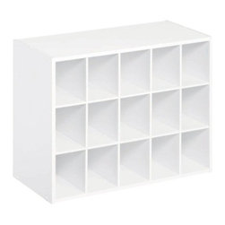 ClosetMaid 15-Unit Organizer, White - I have one of these in my own closet and it holds 25 pairs of shoes. It visually cleans up the space faster than anything else.