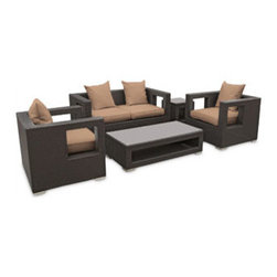 "LexMod - Lunar 5 Piece Outdoor Patio Sofa Set in Espresso Mocha - Lunar 5 Piece Outdoor Patio Sofa Set in Espresso Mocha - Elicit pure perceptions with this brightly illuminated outdoor living set. Inherit abundant light and energy as even the moon's halo shines a radiant glow on fertile mocha all-weather cushions and espresso rattan base. Rejuvenating discussions await along the path of illuminated space and emergent explorations. Set Includes: Four - Lunar Outdoor Wicker Patio Throw Pillows One - Lunar Outdoor Wicker Patio Coffee Table One - Lunar Outdoor Wicker Patio Loveseat One - Lunar Outdoor Wicker Patio Side Table Two - Lunar Outdoor Wicker Patio Armchairs Synthetic Rattan Weave, Powder Coated Aluminum Frame, Water & UV Resistant, Machine Washable Cushion Covers, Easy To Clean Tempered Glass Top, Ships Pre-Assembled Coffee Table Dimensions: 47""L x 24""W x 13""H Side Table Dimensions: 18""L x 18""W x 18""H Loveseat Dimensions: 59""L x 33""W x 28""H Armchair Dimensions: 33""L x 31""W x 28""H Seat Height: 13""HBACKrest Height: 27.5""H Armrest Dimensions: 4""W x 27.5""H Cushion Depth: 4""H Overall Product Dimensions: 121""L x 66""W x 28""H - Mid Century Modern Furniture."
