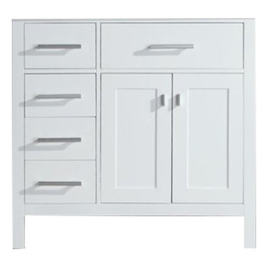 """Design Elements - Design Elements DEC076D-W-L Vanity in White, Base Cabinet Only - The London 36"""" Single Sink Vanity Cabinet,  constructed with solid wood, provides a contemporary design perfect for any bathroom remodel. The ample storage in this free-standing vanity includes one flip-down shelf, four fully functional drawers and one double door cabinet each accented with brushed nickel hardware. This vanity cabinet is available in an espresso or white finish and requires a counter top with a sink that is offset to the right above the double door cabinet."""