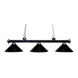 "Three Light Matte Black/brushed Nickel Metal Matte Black Shade Pool Table Light - For a bold yet slim look, this three light fixture certainly delivers. Finished in matte black, this fixture is paired with three matching matte black metal shades. Brushed nickel decorative finials complete the look, and 72"" of chain is supplied on each side of the fixture, that hangs from an oval canopy. This fixture will bring a bold look whether hung in a game room, a kitchen, or anywhere else in the house."