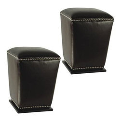 Safavieh - Mason Ottoman (Set Of 2) - Black - The Mason ottoman marries form and function with sturdy construction, elegant tapered silhouette and chic nailhead trim. Sold in pairs, this pretty and practical set is crafted of black bicast leather with plinth bases of beech wood in sleek black finish. Dining chair height and perfect for extra seating in any room, they look great tucked under a console to be whisked out when guests arrive.