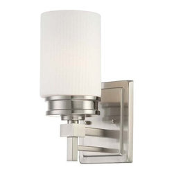 Nuvo Lighting - Nuvo Lighting 60/4701 Wright Single Light Bathroom Fixture - Nuvo Lighting 60/4701 Wright Single Light Bathroom Fixture with Satin White Glass, in Brushed Nickel FinishClassically Frank Lloyd - The Wright collection is the essence of Wright's design concepts. Clean linear simple lines that are visually pleasing and perform a function. This collection is available in Prairie Bronze with Amaretto Ribbed glass shades and Brushed Nickel with Satin white Ribbed glass shades.Nuvo Lighting 60/4701 Features: