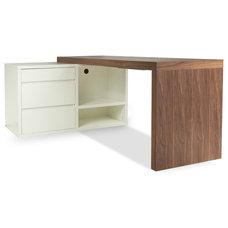 Modern Desks And Hutches Austen Walnut Adjustable Desk