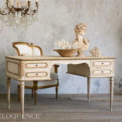 Eloquence - Eloquence Coco Madame Desk - Gorgeous and classic French style desk for your office. Double-sided, so you can share it with a partner, or enjoy the generous work space on your own! In warm aged white finish with gilt trim. New product design.