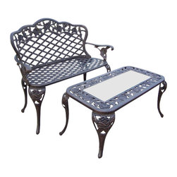 Oakland Living - Oakland Living Tea Rose Cast Aluminum 2-Piece Loveseat Set in Antique Bronze - Oakland Living - Outdoor Benches - 300630072AB - About This Product: