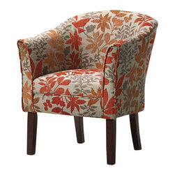 Adarn Inc - Tranditional Autumn Leaves Barrel Back Accent Chair Accent Seating - This beautiful barrel back chair is a unique addition to the living room in your home. Featuring tapered wood legs in a dark finish, with an arching back, and slightly flair arms, this chair is sleek in design. The floral upholstery adds a smart and distinctive look to a multitude of locations in your home.