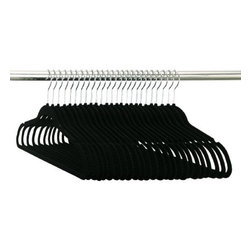 Organize It All - Slim Suit Hanger, Black/Flocked - 50-piece set - Our black velvet slim-line Flocked Suit Hangers are soft to the touch while keeping your clothes in place. Perfect for silk and cashmere clothing and perfect for open closet systems and garment rack display.