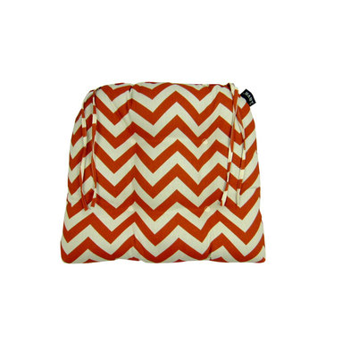 Lava - Chevron Spice Dining Chairpad (Indoor/Outdoor) - 100% polyester cover and fill. Suitable for use indoors or out. Made in USA. Spot clean only
