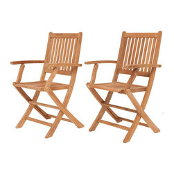 International Home Miami - Amazonia Teak London 2-Piece Teak Folding Armchair - Great Quality, elegant design patio set, made of 100% high quality Teak wood. Enjoy your patio with style with these great sets from our Amazonia Teak outdoor collection