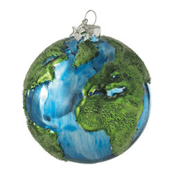 Midwest CBK - Earth Christmas Tree Ornament - Glass Ball Globe Green Environment Holiday Gift - Earth Glass Ball Christmas Ornament