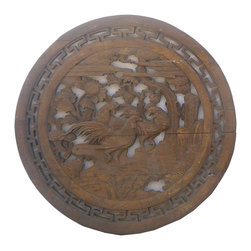Golden Lotus - Chinese Vintage Round 2 Roosters Wall Plaque - This is an old round wood plaque with nice hand crafted see through carving.
