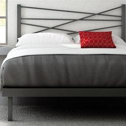 Amisco - Crosston Platform Bed (Full) - Choose Size: FullMagnetite metal frame. Glossy gray finish. Full: 78.13 in. L x 54.5 in. W x 46.25 in. H (84.5 lbs.). Queen: 83.5 in. L x 61.5 in. W x 46.25 in. H (97.5 lbs.)