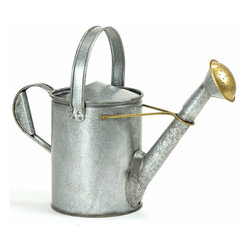 Achla - Galvanized Steel Watering Can, Short Spout - The ruggedly beautiful Short Necked Waterer is a fully functional replica of an 18th century watering can design.  Crafted of non-corrosive galvanized steel with brass accents, the Short Necked Water holds a generous 1.5 gallons and has a removable spout.  Forget fancy and enjoy authentic with this classic 18th Century replica watering can.  It is made of galvanized steel with brass accents for a handmade, aged look that will put you in the mood to churn butter after watering your plants. * 18th Century Replica Watering Can. 15 H x 19 L x 8.5 W in.. Holds 1.5 Gallons