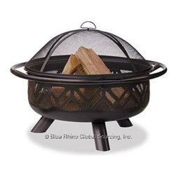 """Blue Rhino - Uniflame 36"""" Outdoor Firebowl Bronze - Uniflame WAD1009SP Oil Rubbed Bronze Outdoor Firebowl with Geometric Design... This Uniflame Slate provides 360 degrees of warmth and view. These appealing outdoor fireplaces are affordable portable and it is so easy to use. Family and friendly gatherings will be more fun because of the right warmth it brings to your backyard patio and pool area. Uniflame is the top of the line for the best portable outdoor fireplaces to warm up winter and chilly nights."""