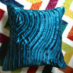 Waves Hand Cut & Embroidered Silk Pillow - hand made: hand cut, fabric manipulated