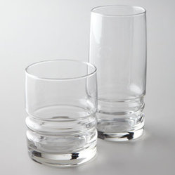 "Horchow - ""Metropolitan"" Glassware - Sophisticated charm emanates from the design of this glassware with rippled bases. From cocktails to an elegant table setting—this glassware is sure to enhance any gathering. Crafted of soda lime and sand glass. Dishwasher safe. Double old-fashi..."