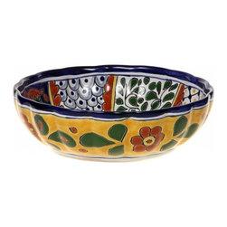 "Mexican Talavera - Mexican Talavera Scalloped 10"" Ceramic Bowl - Available in Four Designs, Design - Mexican Talavera Scalloped 10"" Ceramic Bowl"