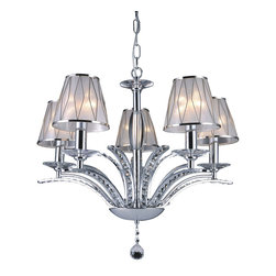 "IFN Modern - David 5 Light Chandelier - â— Metal, Crystalsâ— Chrome Finishâ— Incandescent 60 Watt Bulb (Not Included)â— 17.6lbsâ— 48"" Cordâ— 110 Volts"