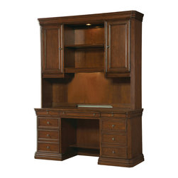 Hooker Furniture - Computer Desk 258-10-464 - Center drawer with drop-front for use with keyboard, two pullout writing slides, left side has two utility drawers and one letter/legal file drawer; bottom two drawers on left side lock; one center adjustable shelf; right side has one door with pullout printer shelf and one adjustable shelf behind. Price for Desk only hutch priced separately.