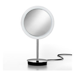 WS Bath Collections - Mirror Pure Mevedo Freestanding Magnifying Mi - Makeup Magnifying Mirror. Magnification 3 Times. Solid Brass Construction. Made by Lineabeta of Italy. Finish/Color: Polished Chrome. Dimensions: 9 in. Diameter x 15.9 in. H