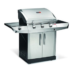 """Char-Broil 463270913 T-36D Performance TRU-Infrared 500 Sq. Inch Gas Grill - 17121712aCharBroilLogoThe Char-Broil Performance TRU-Infrared 3-Burner Propane Gas Grill with Side Burner features technology that heats the food directly and evenly, locking in mouthwatering flavor and juices. With this grill, you won't have to worry about hot spots or flare ups so your food cooks evenly. Whether it's corn on the cob or a juicy T-bone, your dinner will be cooked to perfection. With the Sure Fire Electronic Ignition and an igniter at every burner, you can light your grill and start cooking in a matter of seconds.Features:- 3 Burners- 30,000 BTU main burners- 13,000 BTU side burner- Convertible to natural gas with Dual Fuel Natural Gas Conversion Kit, sold separately- Primary cooking area: 500 sq inches- Secondary cooking area: 180 sq inches- Stainless steel lid and porcelain coated firebox- Stainless steel cooking grates- Tru-Infrared heat cooks food directly, locking in flavor and juices.- SureFire electronic ignition delivers a spark at every burner- No hot spots, cold spots, or flare-ups.- 3 Grate level temperature gauges- Requires 20 lb propane gas tank (not included).- Assembly required- Measures: 54.88""""W x 45.63""""H x 22""""D- Weight: 136 lbs1712b"""