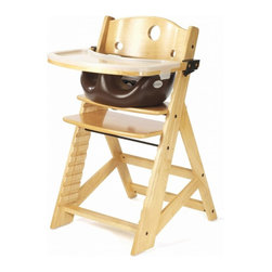 Keekaroo - Keekaroo Height Right High Chair Natural with Chocolate Infant Seat & Tray Multi - Shop for Highchairs from Hayneedle.com! You wish your baby would stay tiny but they never listen. Thankfully the Keekaroo Height Right High Chair with Infant Seat & Tray - Chocolate will grow right along with your tot. This strong rubberwood chair with natural finish includes a seat that's adjustable in height and depth from 6 months to adult. The footrest can be raised to just the right spot for supportive comfortable dining. No more squirming! A 3-point safety belt is included. Holds up to 250 lbs. It's backed by a 5-year warranty. Assembles easily. Using the High Chair's 3-point harness the Infant Seat slips in to provide cushy support and security to children still discovering their balance. High sides hold them straight and the integrated pommel keeps them from squirming loose. But why squirm? The latex-free Chocolate-colored seat is cushy-soft and comfortable impermeable to fluids and easy to clean. The Keekaroo Feeding Tray has a natural satin finish to match the Height Right Chair and cleans easily with a wipe. It includes a built-in ledge to keep dishes toys and spills under control. The tray removes easily out of your way while you load and unload your happy toddler. Keekaroo cares about the environment. That's why they use only eco-friendly rubberwood which after its use for adhesives is crafted in building fine furniture. In addition the finish on this high chair is composed from a plant-based lacquer with no pigment or lead and has low volatile organic compounds. So rest assured that you're making a green choice with Keekaroo! High chair seat dimensions: 16.5W x 9.5D inchesSeat height: 16.5-24.5 inches Infant seat dimensions:Inside of seat: 10W x 8D inchesOuter seat: 13.5W x 13.5D inchesSeat of chair to seat of booster height: 3 inchesOverall insert height: 5.5 inches About KeekarooKeekaroo high chairs and accessories were the brainchild of a father devoted to making better safer furniture for his own children. Rethinking size shape and support from the perspective of a parent owner Tom Bergeron tapped the creativity and insights of his own children to create the most innovate line of high chairs and accessories available. Each offers a more comfortable seating experience grows with your child and has an easy-to-clean surface for mom and dad.