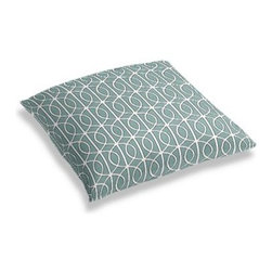 Aqua Modern Trellis Custom Floor Pillow - A couch overflowing with friends is a great problem to have.  But don't just sit there: grab a Simple Floor Pillow.  Pile em up for maximum snugging or set around the coffee table for a casual dinner party. We love it in this rounded trellis in dark aqua and white on soft lightweight line. Your gateway to a chic modern look.