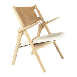 Stilnovo Saw Lounge Chair - The Saw lounge chair has a frame, back and arms sculpted with gentle curves from solid ash hardwood. The wood is finished in a clear coat to bring out the natural tones. The padded seat is upholstered in smooth, white leather.