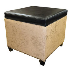 Armen Living - Kenya Ottoman Jute - Rest a tray of  cocktails or stow blankets and throws inside this stylish  storage ottoman.  Accented with antique nails and wrapped in a harmony of plush antique bonded leather and jute fabric for lasting appeal.