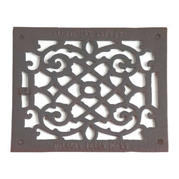 Renovators Supply - Heat Registers Black Aluminum Air Grille w/Logo 9 1/2 x 11 3/8 - Grilles: The period style scroll design make these floor registers perfect for any home restoration. Made of cast aluminum, they are rustproof & maintenance-FREE. Treated with a baked-on black powder coating each grille has a luxurious black finish & Renovator��_��__��_s Supply logo. Mounting hardware not included, measures overall: 9 1/2 in. x 11 3/8 in.