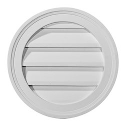 "Ekena Millwork - 12""W x 12""H Round Gable Vent Louver, Decorative - 12""W x 12""H Round Gable Vent Louver, Decorative. Decorative gable vents provide flair to the exterior of your home, allowing you to maintain a consistent appearance without the need for installing unnecessary and costly functional gable vents- Made from high-density polyurethane, Ekenas decorative vents are lightweight and easy to install- They are designed to withstand the elements, resisting rotting, cracking and insect infestations, and they come factory-primed and ready for your choice of paint-Features- Modeled after original historical patterns and designs-- Constructed from solid urethane for maximum durability and detail-- Lightweight for quick and easy installation-- Factory-primed and ready for paint or faux finish-- Can be cut, drilled, glued and screwed-- Designed for use on both interior and exterior applications-- Material - Urethane"