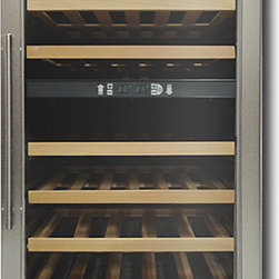 Vinotemp - 34-Bottle Wine Cellar - I love the look of this wine fridge because it's at once very sleek, but the wood shelves remind me of oak barrels and more traditional wine storage.