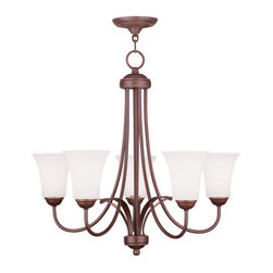 Livex Lighting - Livex Lighting 6475 Ridgedale 22 Inch Tall Up Lighting 1 Tier Chandelier - Livex Lighting 6475 Ridgedale Five Light One Tier Up Lighting ChandelierShowcasing long graceful arms, genuine hand blown glass, and leaf like accents with a decorative finial, the Ridgedale five light up light chandelier makes a great addition to enhance the look of any room. This versatile light can be installed semi-flush with the ceiling or with the included chain.Livex Lighting 6475 Features: