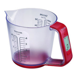 Taylor Products - Digital Measuring Cup Scale - Taylor 3890 Digital Measuring Cup ScaleBrand: Taylor. TAP3890. Measures Weight & Volume. Converts Units. Digitally Weighs Food Or Liquids. Auto Zero. Add & Weigh Function. Auto Shutoff. Preprogrammed Specification To Convert Weight To Volume For Water, Milk, Oil, Sugar & Flour. Weigh Capacity: 6.6 Lb (3 Kg). Volume Capacity: 4 Cups (1 Liter). Measures In ml, Cups, Fl Oz, Lbs, Grams & Oz. Plastic Measuring Cup With Molded Handle. Includes 1 Lithium BatteryProduct Class: Electronics-OtherUPC: 77784007495Manufacturer's Warranty: One Year