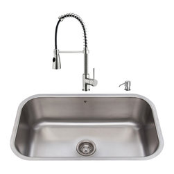 """VIGO Industries - VIGO All in One 30-inch Undermount Stainless Steel Kitchen Sink and Faucet Set - Enhance the look of your kitchen with a VIGO All in One Kitchen Set featuring a 30"""" Undermount kitchen sink, faucet, soap dispenser, matching bottom grid, and sink strainer."""