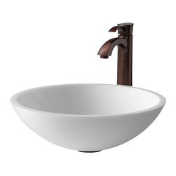 Vigo - VGT208 Flat Edged White Vessel Sink with Oil Rubbed Bronze Faucet - The VIGO Flat Edged White Phoenix Stone Glass Vessel Sink with Oil Rubbed Bronze Faucet will bring to your home a new kind of traditional design