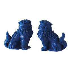 Blue Fu Dog Decorative Candle Set - The foo dogs trend has been going strong for years, and these candle versions are too cute.
