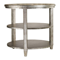"""Hooker Furniture - Melange Maverick Table - The aluminum sheet-covered Maverick Table adds a shimmer of silver and an element of character to any spot in your home.  Two shelves.  Shelf space: 25 1/2"""" w x 25 1/2"""" d x 9 1/2"""" h"""