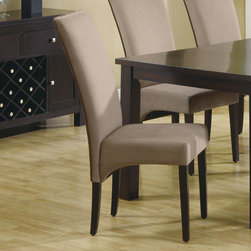 "Monarch - Tan Velvet / Brown Piping 41""H Dining Chair - Set of 2 - These brown piping dining chairs have high sleek curved chair backs, and generously padded seats, covered in a soft and durable velvet fabric. A warm tan upholstery sits above straight, square legs for a style that everyone will appreciate.;Features: Weight: 32 lbs.;Dimensions: 24""L x 18""W x 41.5""H"