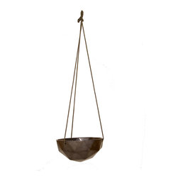 """KL Studios - Hanging Geo Planter 12"""", Gunmetal - Unlike most ceramic pieces that have a """"foot"""", each Geo Planter is fully glazed and fired using our own unique method. This way the piece does not have a designated way to sit or hang and can be placed or viewed from all angles."""